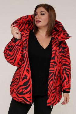 Женская зимняя куртка 20317 Зебра красная