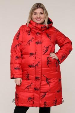 Женская зимняя куртка 203-01 Динозавры Красный