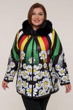 Женская зимняя куртка 61778 Ромашки