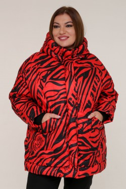 Женская зимняя куртка 20366 Зебра красная
