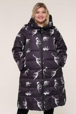 Женская зимняя куртка 203-124 Динозавр темный