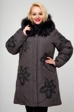 Женская зимняя куртка-парка, А-12-71, Темный Узор