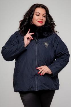 Женская зимняя куртка, А-561, Темно-Синий+Декор