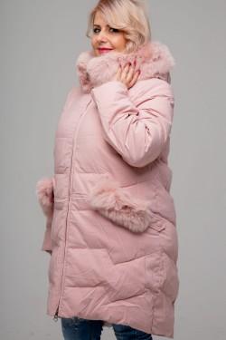 Женское зимнее полупальто, 215-81, Пудра