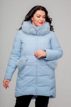Женское зимнее полупальто, 215-81, Голубой