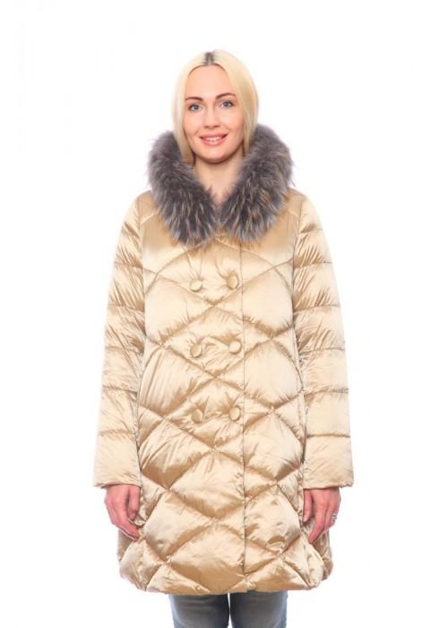 Женская куртка, арт. 15703А с мехом, холлофайбер