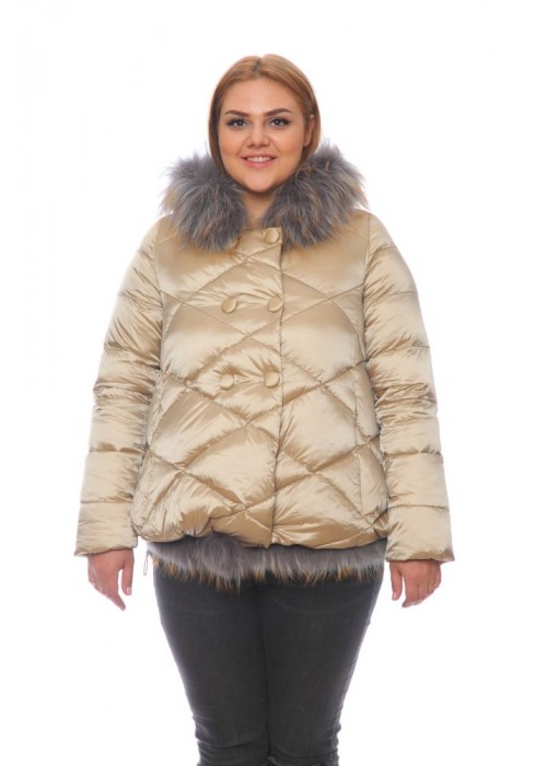 Женская куртка, арт. 15703-2 с мехом, холлофайбер