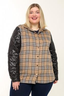 Женская двойная куртка (жилет+рубашка) весенне-осенняя 21060 Черный