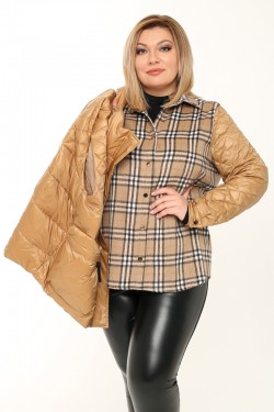 Женская двойная куртка (жилет+рубашка) весенне-осенняя 21060 Бежевый