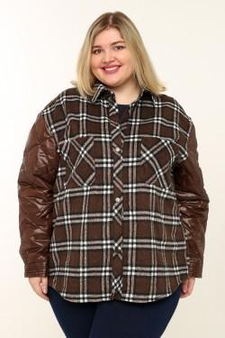 Женская куртка-двойка весенне-осенняя 0670 Шоколадный
