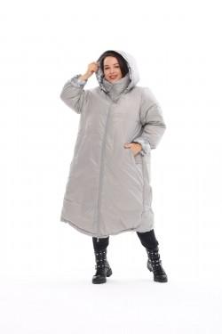 Женское двухстороннее пальто осень-зима 19006 Белые цветы+серый