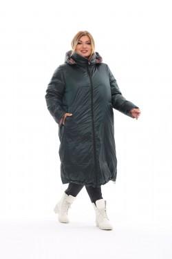 Женское двухстороннее пальто осень-зима 19006 Пикасо+зеленый
