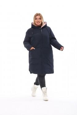 Женское пальто осень-зима 173 Синий+чайная роза