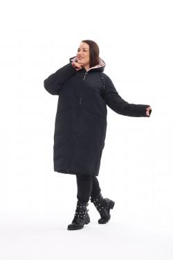 Женское пальто осень-зима 173 Черный+чайная роза