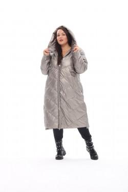Женское пальто осень-зима 21112 Серебро