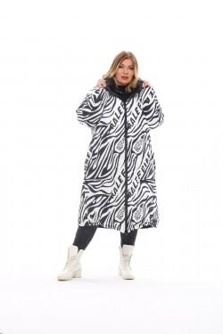 Женское двухстороннее пальто осень-зима 19006 Черный+зебра